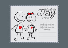 Valentines Day Card. Vector Drawing Stock Photography