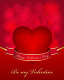 Valentines day card. With heart and ribbon Royalty Free Stock Photo