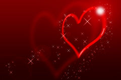 Valentines Day Card. Valentin`s Day Card With blurred Hearts all in red with lens flares Stock Image