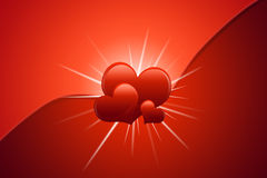 Valentines Day Card. Valentin`s Day Card with Hearts all in red Royalty Free Stock Photo