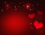 Valentines Day Card. Valentin`s Day Card with red Hearts and stars Royalty Free Stock Photography