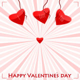 Valentines day card. With love letters hanging on cords Royalty Free Stock Photography