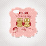 Valentines Day card. With cute owls Royalty Free Stock Image