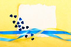 Valentines day card. Old paper with decorations on yellow background. Stock photo Royalty Free Stock Images