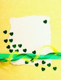 Valentines day card. Old paper with decorations on yellow background. Stock photo Royalty Free Stock Image