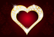 Valentines Day card - abstract golden heart with diamonds Stock Photography