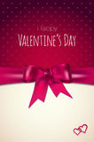 Valentines day card with abstract heart and violet bow Stock Photo