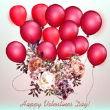 Valentines day card with air balloons and flowers Stock Image
