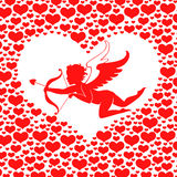 Valentines day card with Amur in heart Stock Image