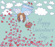 Valentines day card with angel. Stock Photo