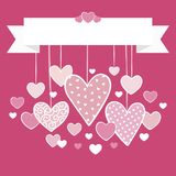 Valentines day card background with hanging hearts. And top blank ribbon banner for your text Royalty Free Stock Image