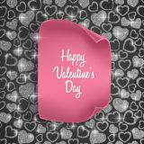 Valentines day card background with seamless heart pattern, glittering texture and realistic paper. Vector illustration. Valentines day card background with Royalty Free Stock Photo