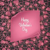 Valentines day card background with seamless heart pattern, glittering texture and realistic paper. Vector illustration. Valentines day card background with Royalty Free Stock Photos