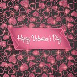 Valentines day card background with seamless heart pattern, glittering texture and realistic paper. Vector illustration. Valentines day card background with Royalty Free Stock Images