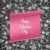 Valentines day card background with seamless heart pattern, glittering texture and realistic paper. Vector illustration. Valentines day card background with Stock Photos