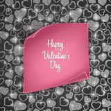 Valentines day card background with seamless heart pattern, glittering texture and realistic paper. Vector illustration. Valentines day card background with Stock Image