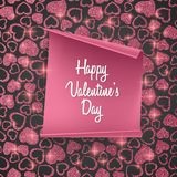 Valentines day card background with seamless heart pattern, glittering texture and realistic paper. Vector illustration. Valentines day card background with Royalty Free Stock Image