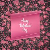Valentines day card background with seamless heart pattern, glittering texture and realistic paper. Vector illustration. Valentines day card background with Stock Images