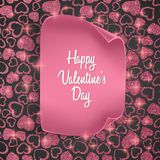 Valentines day card background with seamless heart pattern, glittering texture and realistic paper. Vector illustration. Valentines day card background with Royalty Free Stock Photography