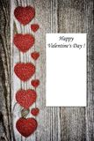 Valentines day card. Background whith heart, on wood Royalty Free Stock Image