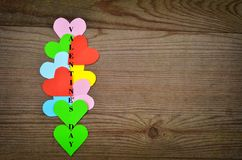 Valentines day card. Background whith heart, on wood Royalty Free Stock Photo