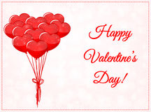 Valentines day card with balloons Stock Photo