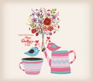 Valentines day card. Beautiful card with watercolor flowers. bottle with birds in love Stock Images