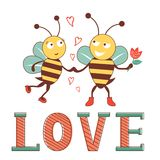 Valentines day card with bees in love Stock Photo