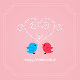 Valentines day card with birds vector background Stock Photos