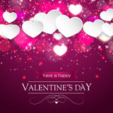 Valentines day card with blurred hearts and sparkles Stock Images