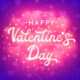 Valentines Day card with bokeh blurred hearts, glitter and sparkles. Romantic poster with lettering on pink and purple. Royalty Free Stock Photo