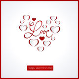 Valentines day card. Calligraphy. Lettering. Abstract paper hearts. Love background Stock Photo