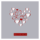 Valentines day card. Calligraphy. Lettering. Abstract paper hearts. Love background Stock Image