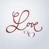 Valentines day card. Calligraphy. Lettering. Abstract paper hearts. Love background Royalty Free Stock Image