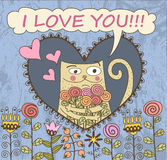Valentines Day Card. Cat with flowers Stock Photo