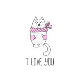 Valentines day card with cat. Vector illustration Royalty Free Stock Images