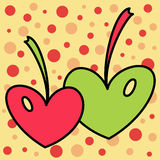 Valentines day card. With colored cherry hearts Royalty Free Illustration