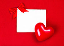 Valentines Day Card with copyspace for greeting text on red back Stock Photography