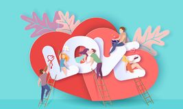 Valentines day card with couple in love heart. Valentines day card with couple sitting on big letters LOVE and sending red hearts with smartphones, kissing and royalty free illustration
