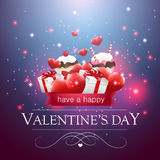 Valentines day card with cupcakes and presents. Royalty Free Stock Photos
