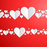 Valentines Day card with cut paper hearts Royalty Free Stock Images
