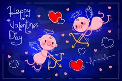 Valentines Day card with cute cupids and hearts on a dark blue neon background. Vector illustration Royalty Free Stock Photos