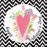 Valentines Day card cute hand drawn pink heart flowers text Happy Valentines Day Vector illustration. Valentines Day card with cute hand drawn flowers heart stock illustration