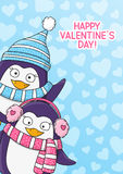 Valentines day card. With cute penguins stock illustration