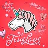 Valentines day card with cute unicorn animal, stickers and hand drawn letters Royalty Free Stock Photos