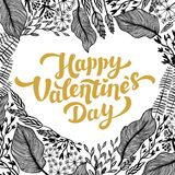 Valentines day card design. Golden Lettering and heart shape Flowers frame. Vector illustration Royalty Free Stock Photography