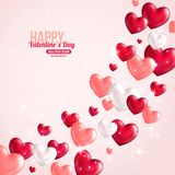 Valentines Day Card Design with Hearts for Holiday Royalty Free Stock Photo