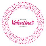 Valentines Day card design. Love circle frame from pattern gentle pink hearts isolated on white background. Stock Image