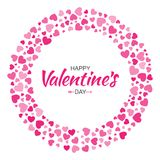Valentines Day card design. Love circle frame from pattern gentle pink hearts isolated on white background. Stock Photo