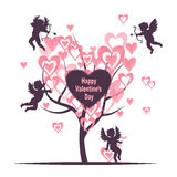 Valentines Day card design with Love tree and cute cupids. Stock Images